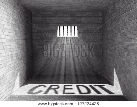 Prison with light and Credit Shadow through a barred window. 3d Rendering