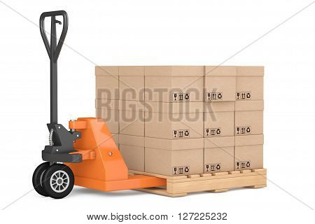 Hand Pallet Truck with Boxes on a white background. 3d Rendering