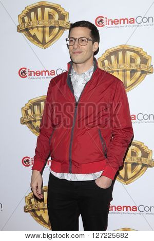 LAS VEGAS - APR 12:  Andy Samberg at the Warner Bros. Pictures Presentation at CinemaCon at the Caesars Palace on April 12, 2016 in Las Vegas, CA
