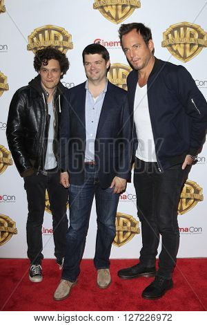 LAS VEGAS - APR 12:  Christopher Miller, Phil Lord, Will Arnett at the Warner Bros. Pictures Presentation at CinemaCon at the Caesars Palace on April 12, 2016 in Las Vegas, CA