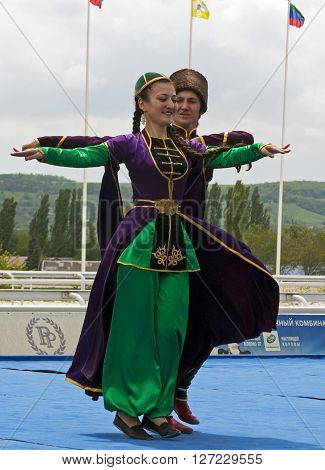 PYATIGORSK,RUSSIA - MAY 06,2012: Highland Dance.Festival of Friendship of Peoples of the Caucasus of hippodrome in Pyatigorsk Caucasus, Russia on May 06,2012.