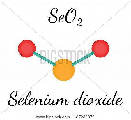 SeO2 selenium dioxide 3d molecule isolated on white