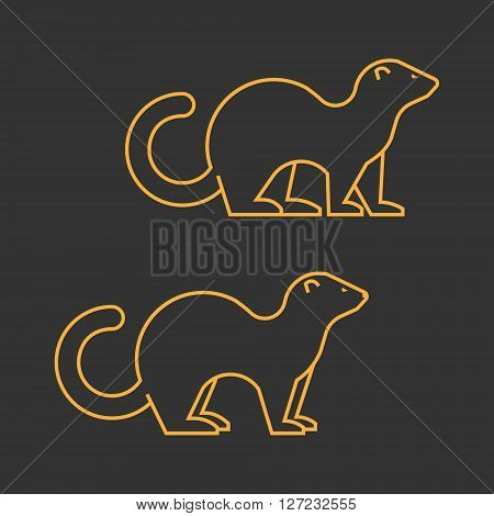 Gold outline vector silhouette ferret on black background.