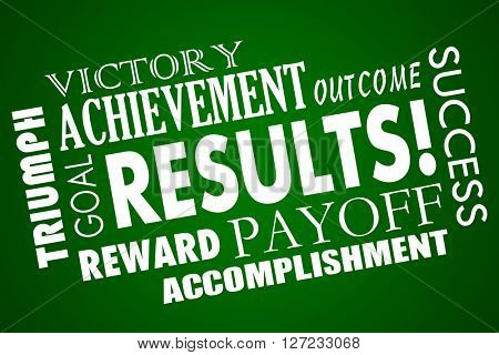Results Outcome Rewards Goal Accomplished Word Collage poster