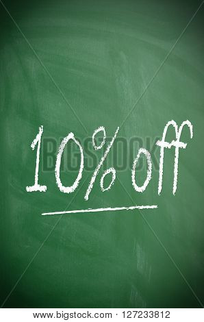 Texture of a blackboard with 10 percent off