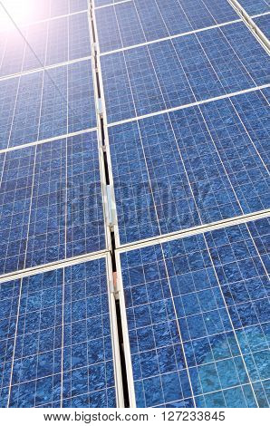Solar panel with bright sun lens flares
