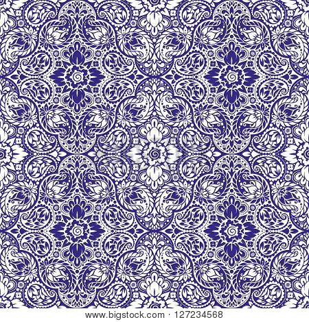 Wallpaper in the style of Baroque. A seamless vector background with paisley design elements. Indian floral ornament