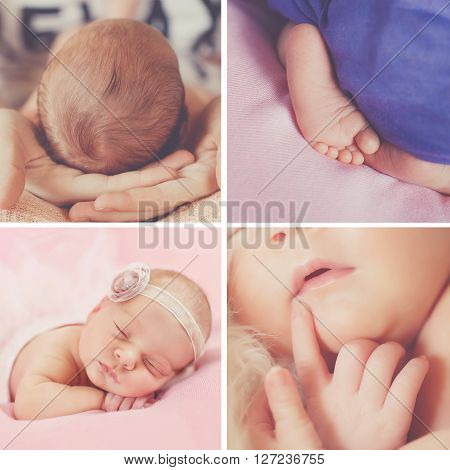 Peaceful sleep of a newborn baby,a collage of four pictures on different backgrounds,cute baby sleeping sweetly tucked arms and legs, the baby asleep in his mother's arms,little legs peeking out from under the blanket