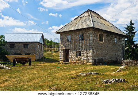 Old style house made of stones at Pester plateau in southwest Serbia