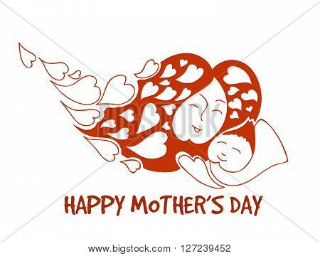 Loving mother with baby for happy mothers day. Stock isolated illustration for design on white background.