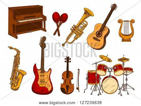 Classical orchestra musical instruments retro sketch with colorful upright piano, electric and acoustic guitars, violin, drum set, saxophone, trumpet, lyre and maracas. Concert playbill or music theme design usage