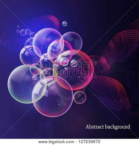 Soap party in a nightclub. Abstract blue purple background with glowing lines glitter and bubbles vector. Abstract modern illustration. Abstract night club background