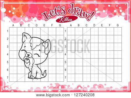 Educational game for kids. How to draw cute cartoon kitten. Drawing with grid. Worksheet for class or at home with the kids. A4 size. Horizontal orientation.