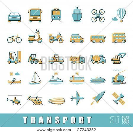 Set of transportation icons.  Various means of transportation road, rail, air, water transport. Various types of  vehicles. Collection of flat line vector icons.