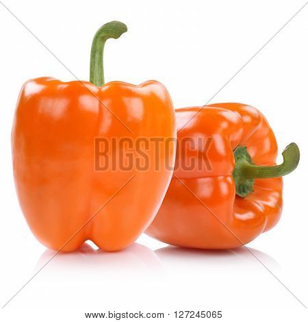 Bell Pepper Peppers Paprika Paprikas Orange Isolated On White