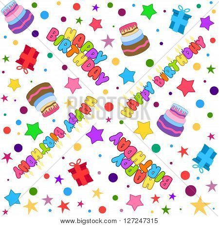 Vector illustration pattern of colorful Happy Birthday text cake presents and stars.