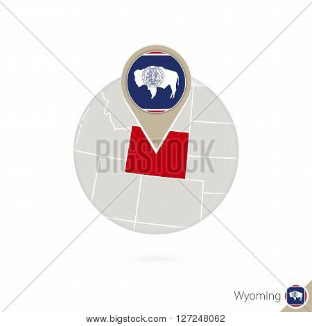 Wyoming Us State Map And Flag In Circle.