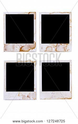 Old vintage stained blank photo print frames isolated on white background
