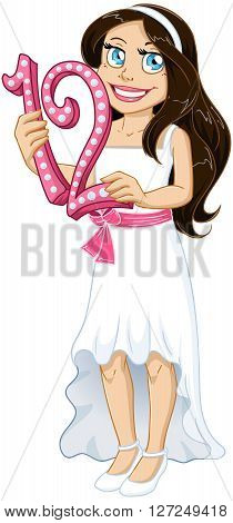 Vector illustration of a Jewish girl holds the number 12 for Bat Mitzvah.