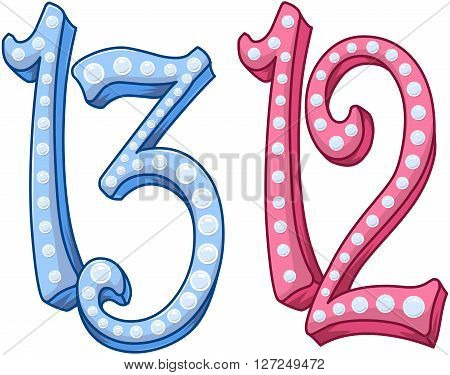 Vector illustration of the numbers twelve and thirteen.