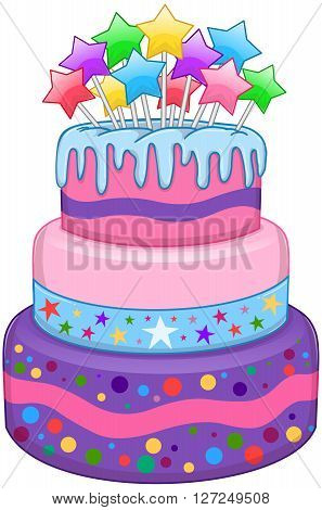 Vector illustration of 3 floors birthday cake with colorful stars on top.