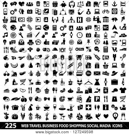 Set of 225 Quality SM and Web icons