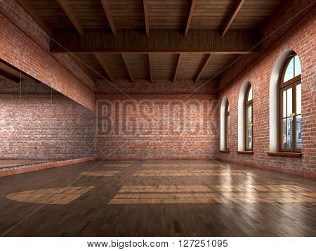 Big empty room in grange style with wooden floor bricks wall big windows and mirrow. Dance studio. 3d illustration