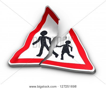 Broken road sign with two characters separated over white background. 3D illustration of road accident and excess speed.