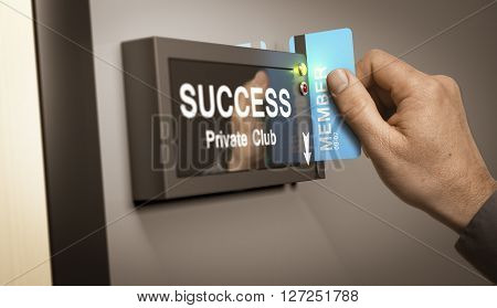 Hand with blue cardkey unlocking access to success private club. Concept image for illustration of self realization or entrepreneurship.