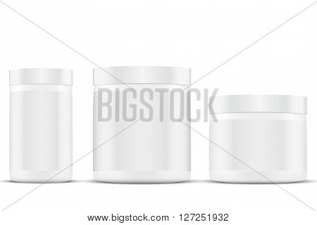 3D Mockup Sport Nutrition Container. White Plastic Whey Protein and Gainer.  Illustration isolated on white background