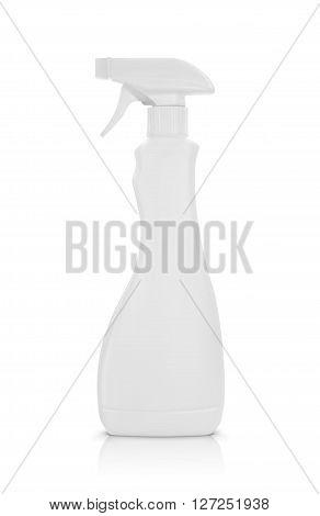 plastic spray bottle with cleaning liquid  isolated on a white background