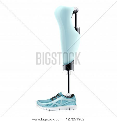Original  Modern Prosthetic leg mechanism.  Illustration isolated on white background.