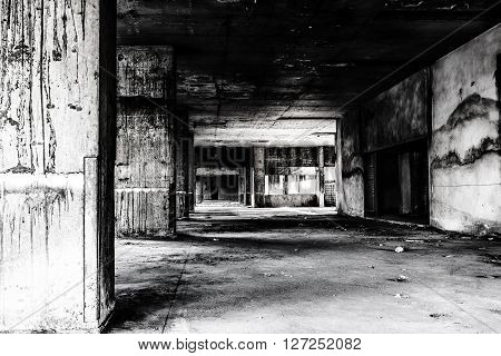 Abandoned building darkness creepy and horror background concept