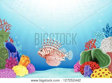 Vector illustration of Cartoon Scorpion fish with beautiful underwater world