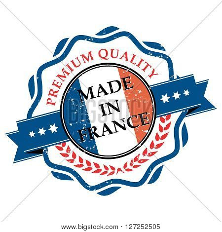Made in France grunge printable label. Grunge label - Made in France, with French flag colors. CMYK colors used.