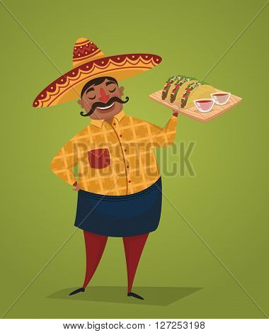 Mexican chef with tacos. Mexican food concept. Man in Mexican national costume. Vector character in cartoon style. Banner of mexican food. Cartoon mexican food poster. National food from Mexico. Mexican people concept.