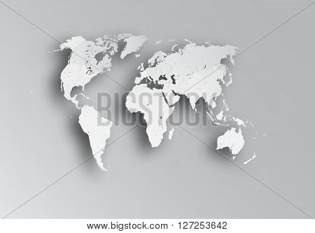 Very detailed political map of the world with paper cut effect. Map consists of separate objects - countries. Each country can be processed separately - eg resize and recolor or used in another project as an independent object.