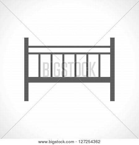 Baby cot icon isolated on white background. Portable camp bed. Collapsible. Newborn furniture. Wooden cradle. Mobile bed icon. For posters, babe shower greeting and invitation cards.