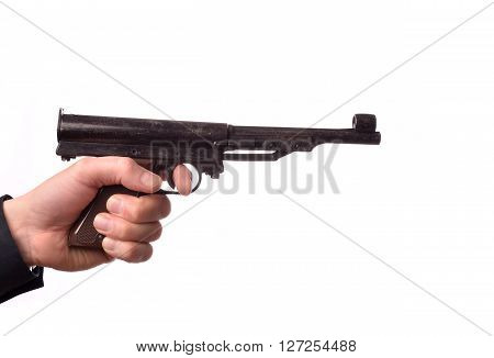 Hand with an airgun on a white background