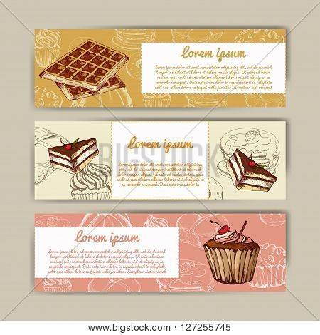 Cafe banners with hand drawn design. Dessert restaurant menu template. Set of cards for corporate identity. Vector illustration