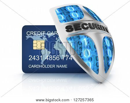 Credit card and security shield (done in 3d)