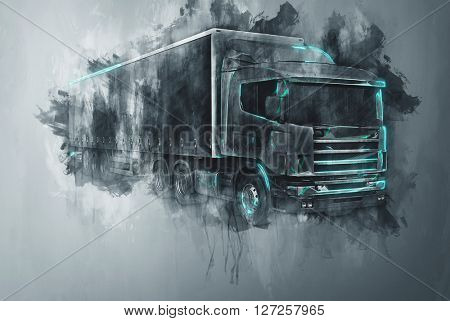 Single abstract tractor trailer truck in gray paint strokes and flat dark background with rough painterly dripping effect. (3d Rendering).