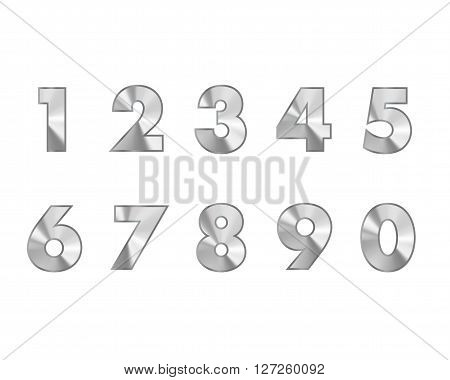 steel numbers metal text vector illustration 1 2 3 4 5 6 7 8 9 0
