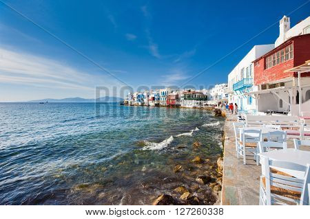 Little Venice popular tourist area at village on Mykonos island, Greece, Europe