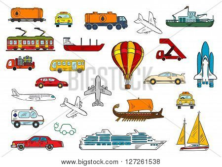 Colored sketches of various modes of transportation with cars and taxi, airplanes, ambulance, bus, fishing boat and yacht, railroad tank car and tanker truck, electric train and car, cruise liner, hot air balloon, baggage truck and passenger stairs, space