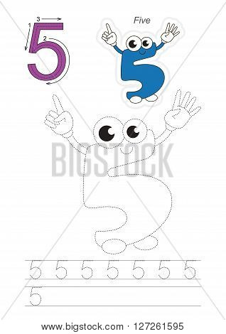 Vector exercise illustrated alphabet. Learn handwriting. Page to be traced. Complete english alphabet. Tracing worksheet for figure Five