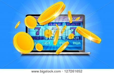 Laptop working as slot machine with gold coins coming out from the screen
