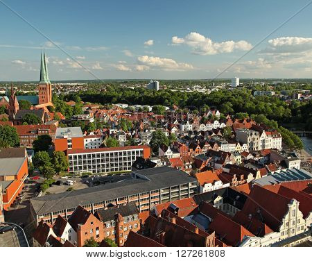 Panoramic view of Lubeck, Germany