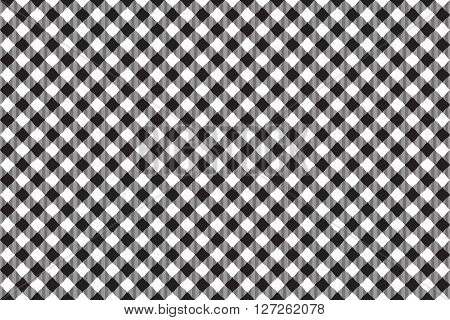 Black tablecloth diagonal background seamless pattern. Vector illustration of traditional gingham dining cloth with fabric texture. Checkered picnic cooking tablecloth.