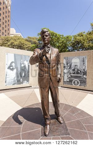 FORT WORTH TX USA - APR 6: Kennedy statue in Fort Worth downtown district. April 6 2016 in Fort Worth Texas USA